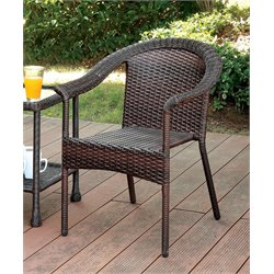 Furniture of America Onwing Patio Wicker Chair in Espresso