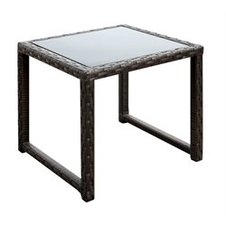 Furniture of America Merick Patio Wicker End Table in Espresso