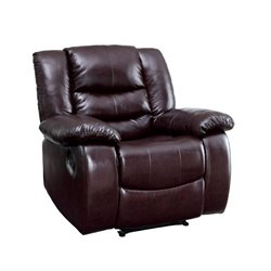 Furniture of America Torrance Leather Recliner in Brown