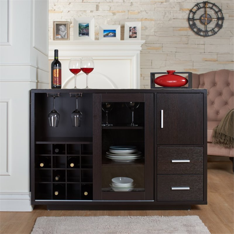 Furniture of America Payton Wooden Wine Rack Buffet in Cappuccino