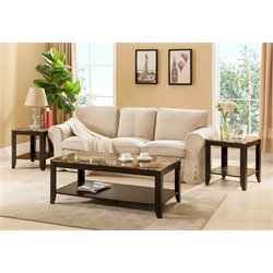 Furniture of America Ento 3 Piece Faux Marble Top Coffee Table Set