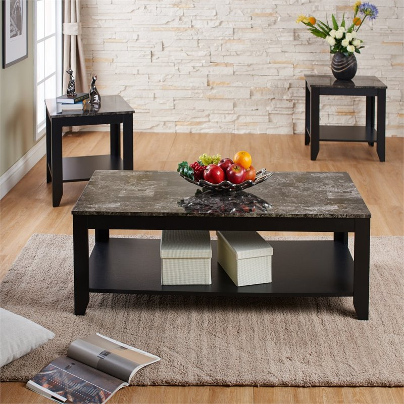 livingroom table sets furniture of america ento 3 piece faux marble top coffee table set idi 14996 x3 7647