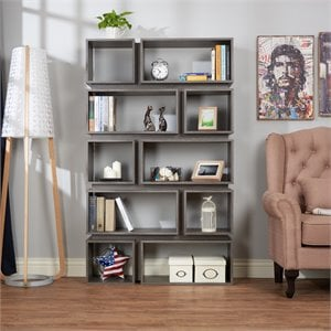 Furniture of America Ariana Bookcase in Distressed Gray