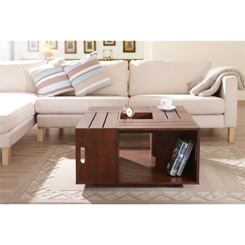 Oregon Coffee Table Walnut: Furniture Of America Tessa Square Coffee Table In Vintage