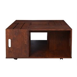 Furniture of America Tessa Square Coffee Table in Vintage Walnut