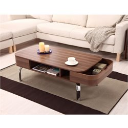 Furniture of America Brendan Storage Coffee Table in Walnut