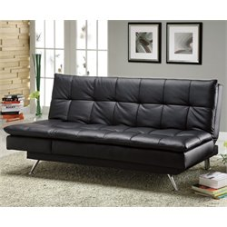 Furniture of America Rouse Tufted Leatherette Futon in Black