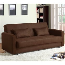Furniture of America Hayland Microfiber Futon in Brown