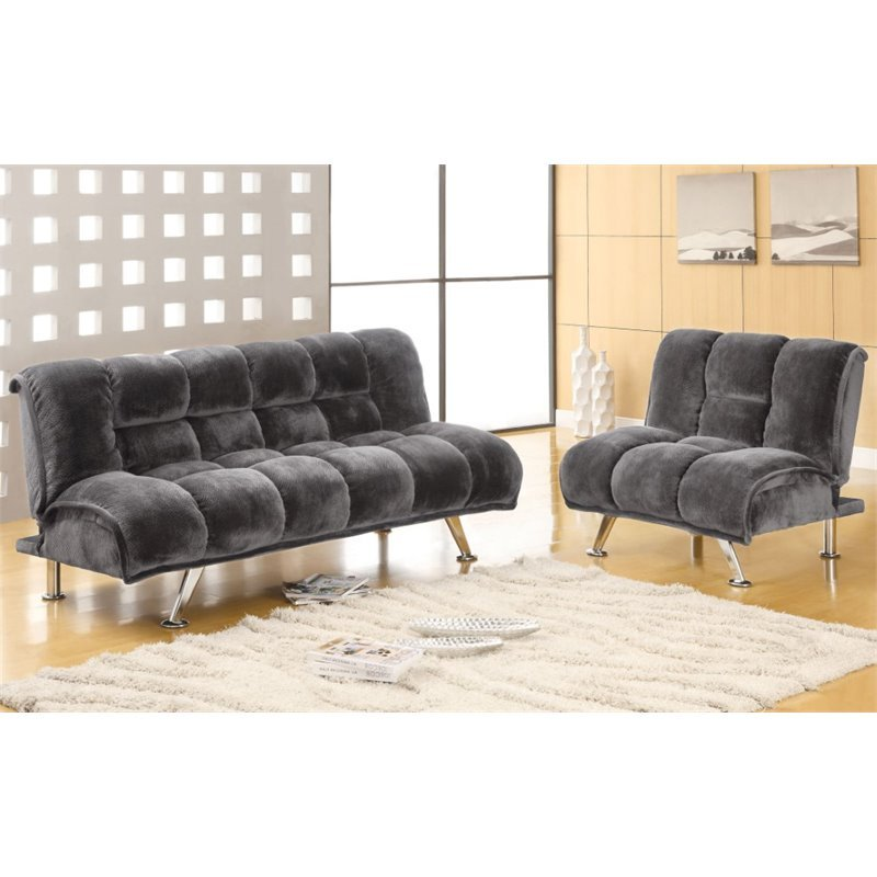Furniture Of America Edlee 2 Piece Fabric Futon Sofa Set In Grey