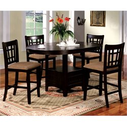 Furniture of America Koline 5 Piece Round Counter Height Dining Set