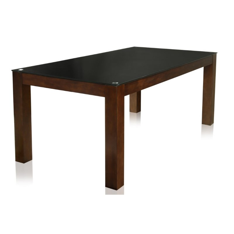 Furniture Of America Wagne Tempered Glass Dining Table In Dark Cherry Idf 3062t