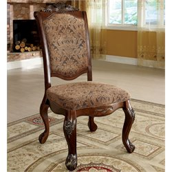 Furniture of America Fellin Side Chair in Antique Cherry (Set of 2)