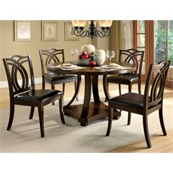 Furniture of America Lafayette 5 Piece Round Dining Set in Dark Walnut
