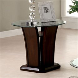 Furniture of America Lantler Glass Top End Table in Dark Cherry