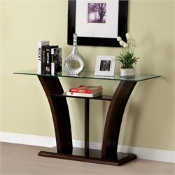 Furniture of America Lantler Glass Top Console Table in Dark Cherry