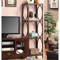 Furniture of America Glossen Circular Accent Pier Cabinet in Cherry
