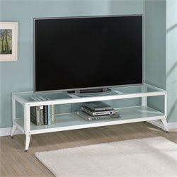 Elton Modern Metal TV Stand in White