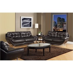 Furniture of America Rosalyn 2 Piece Leatherette Sofa Set in Espresso