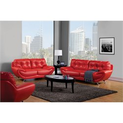 Furniture of America Rosalyn 2 Piece Leatherette Sofa Set in Red
