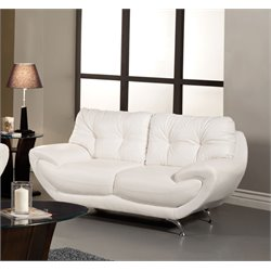 Furniture of America Rosalyn Leatherette Loveseat in White