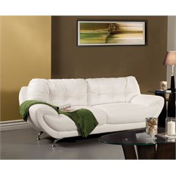Furniture of America Rosalyn Leatherette Sofa in White