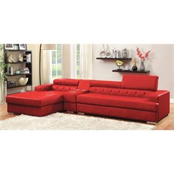 Contreras Leatherette Sectional in Red
