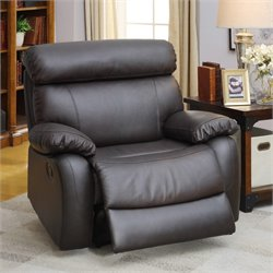 Furniture of America Marrona Grain Leather Recliner in Brown
