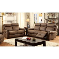 Furniture of America Malm 2 Piece Reclining Fabric Sofa Set in Brown