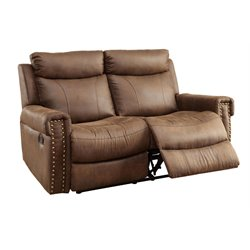 Furniture of America Malm Fabric Reclining Loveseat in Brown