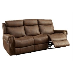 Furniture of America Malm Fabric Reclining Sofa in Brown