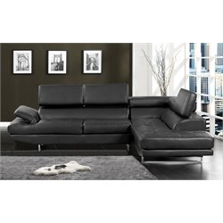 Furniture of America Fuchantel Sectional in Black