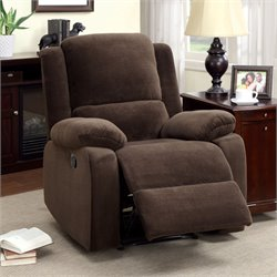 Furniture of America Klichel Flannelette Recliner in Dark Brown