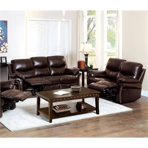 Furniture of America Hambrick 2 Piece Leather Reclining Sofa Set