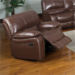 Furniture of America Colston Leather Glider Recliner Chair in Brown