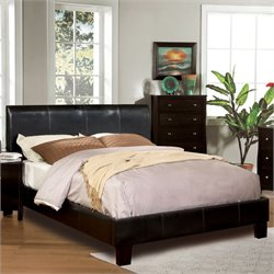 Furniture of America Mevea Leatherette Queen Platform Bed in Espresso