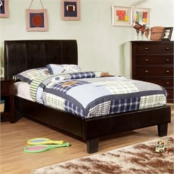 Furniture of America Mevea Leatherette Twin Platform Bed in Espresso