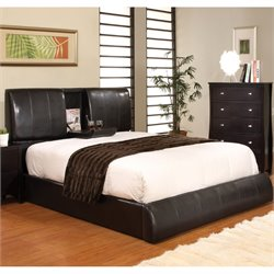 Furniture of America Modulime Leatherette Queen Bed in Espresso