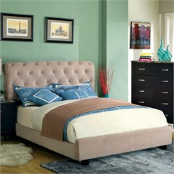 Furniture of America Weenzel Button Tufted Queen Bed in Beige
