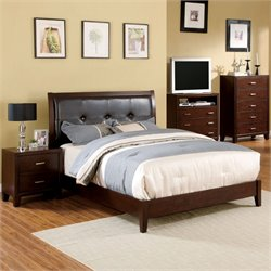 Furniture of America Jeinske 3 Piece Full Bedroom Set in Brown Cherry