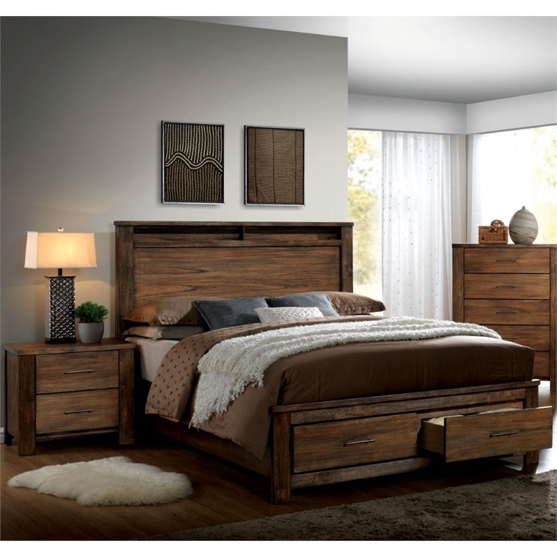 Furniture Of America Nangetti Rustic 2 Piece King Bedroom Set In Oak Idf 7072ek 2pc
