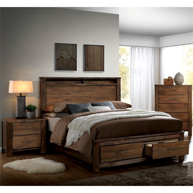 Furniture of america nangetti rustic 3 piece king bedroom for 3 bedroom set