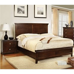 Furniture of America Fanquite 2 Piece King Bedroom Set in Brown Cherry
