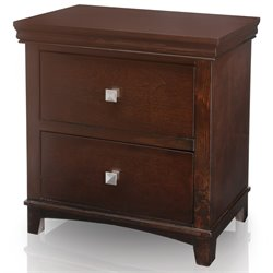 Furniture of America Fanquite 2 Drawer Nightstand in Brown Cherry