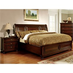 Furniture of America Caiden 2 Piece King Bedroom Set in Espresso