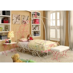 Furniture of America Heiress 2 Piece Bedroom Set in Pink and White