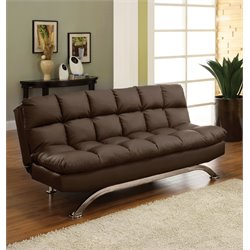 Furniture of America Moore Faux Leather Sleeper Sofa Bed in Espresso