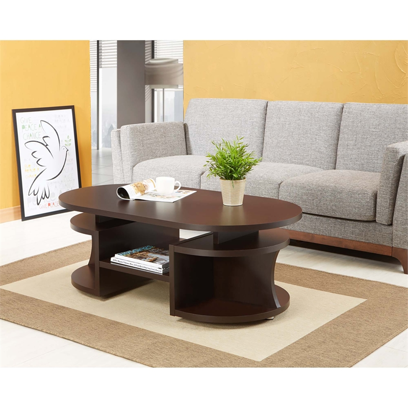 Furniture of America Chancelor Oval Coffee Table in Espresso