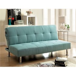 Furniture of America Hallas Linen Sleeper Sofa Bed in Blue