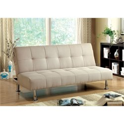 Furniture of America Hallas Linen Sleeper Sofa Bed in Ivory