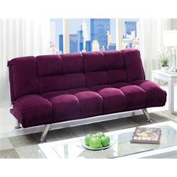 Furniture of America Napa Tufted Sleepr Sofa Bed in Purple